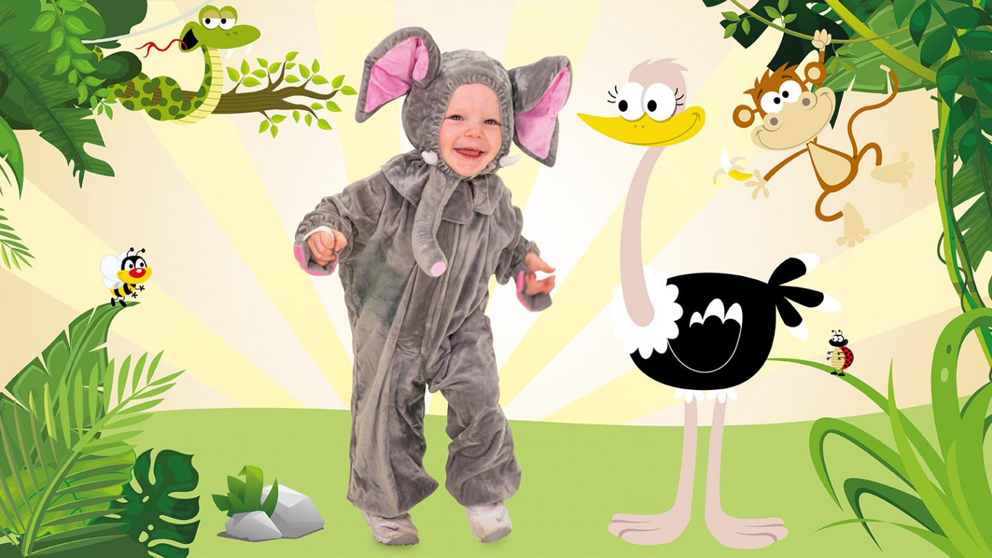 Toddler in elephant suit dances happily in front of animated jungle background