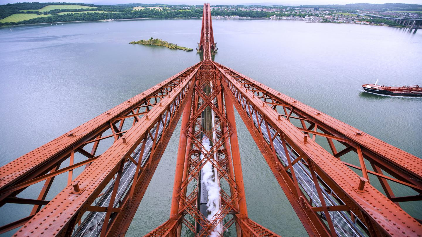 View from the top of the Forth Bridge.