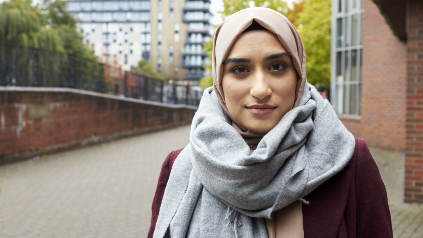 Young muslim woman looking directly at camera