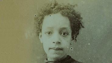Black and white image of a young woman