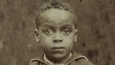 Black and white image of a child