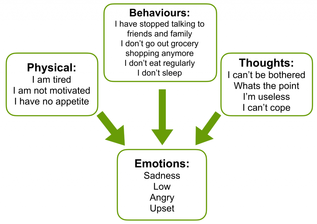 Diagram that shows what changes about behaviours, thoughts, emotions and physical