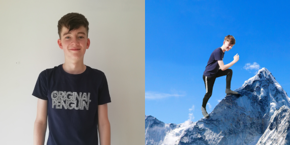 Split image of a young man in a tshirt and photoshopped onto a mountain