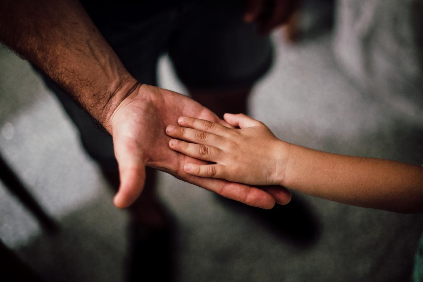 Child holding adult's hand