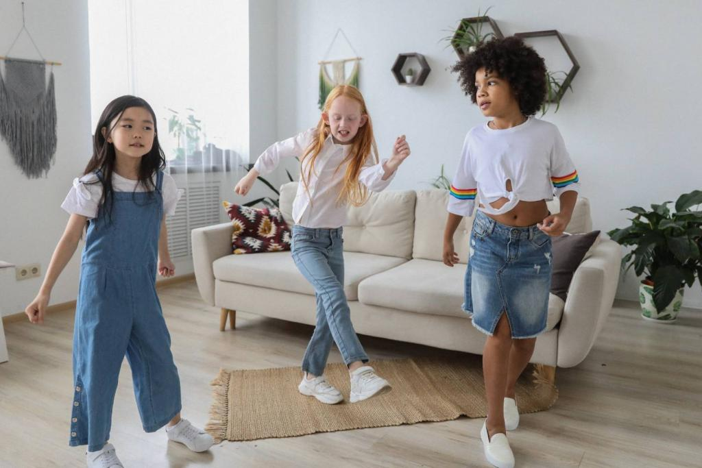 Three young girls dancing in a living room