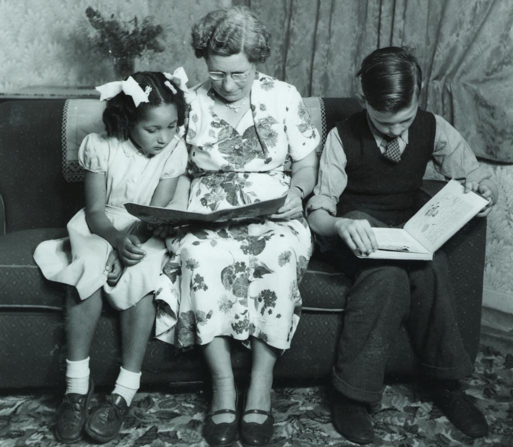 1954 Barnardo's children with foster mother