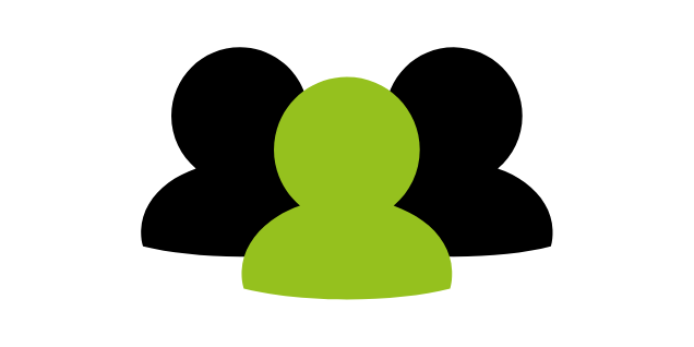 Logo of 3 human silhouettes, with one silhouette in front of two behind