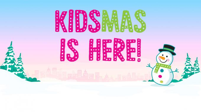Kidsmas snowman on a snowy background with a sign reading 'Kidsmas is here!'