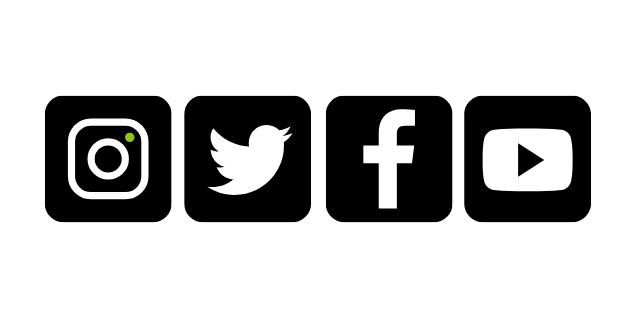Logo's of social media channels - Instagram, Twitter, Facebook and Youtube