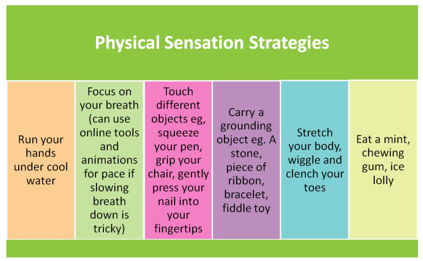 Physical sensation strategies for dealing with anxiety