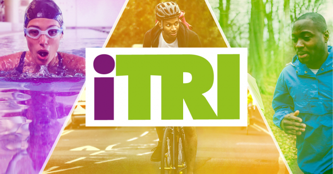 iTRI logo with a swimmer, cyclist and runner in the background