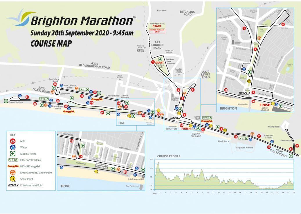 Map of the Brighton Marathon route