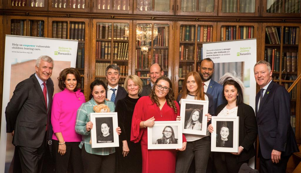 Banking on Barnardo's committee members, Natasha Kaplinsky, Rory Bremner and some young people from Barnardo's services