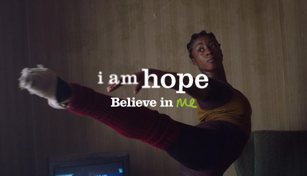 Ballerina with I am hope slogan