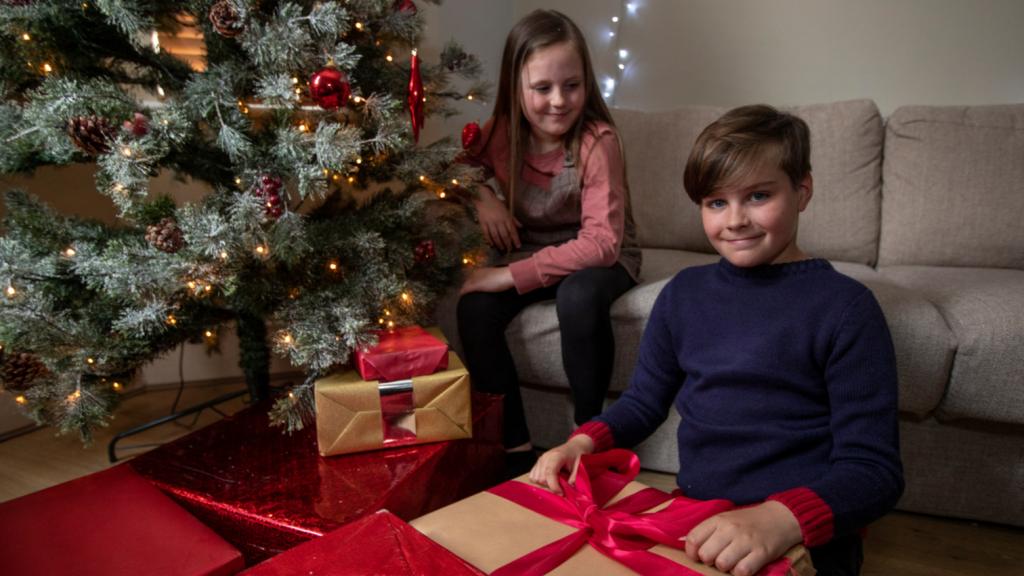 Charlie and his sister Lily celebrating Christmas
