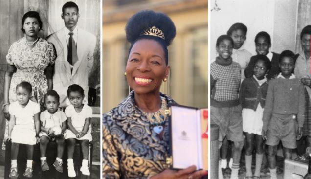 Photo of Barnardo's Vice President Baroness Floella Benjamin and children and families from the Windrush era