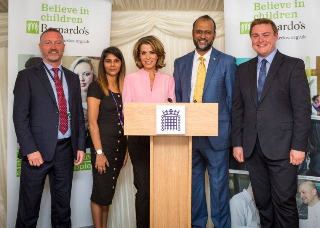 Steve Reed MP; Kiran, a young person supported by Barnardo's; Natasha Kaplinskey CBE; Javed Khan; Will Quince MP.