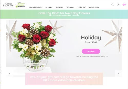 Prestige Flowers website screenshot