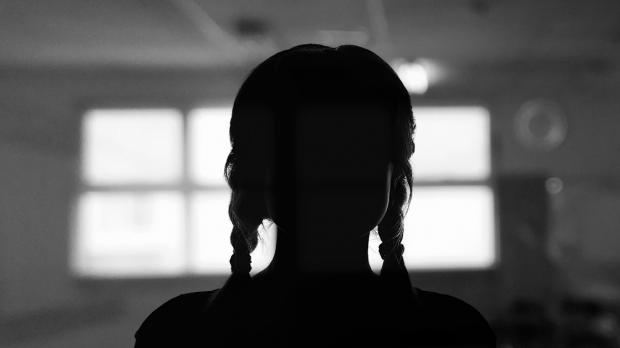 Silhouette of young girl with plaits in front of a window