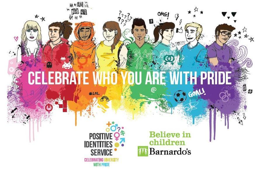 Colourful illustration of young people with celebrate messaging