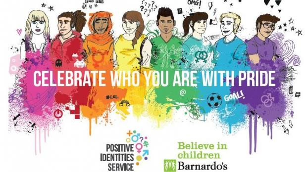 "Artwork for LGBT service that reads ""show who you are with pride"" over illustrations"