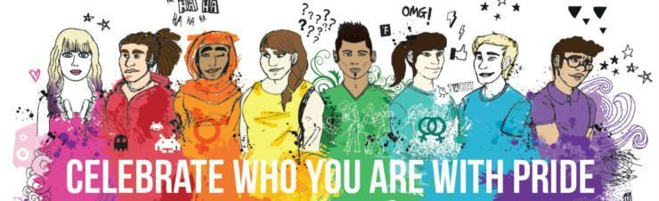 Celebrate who you are with pride slogan with colourful images of young people