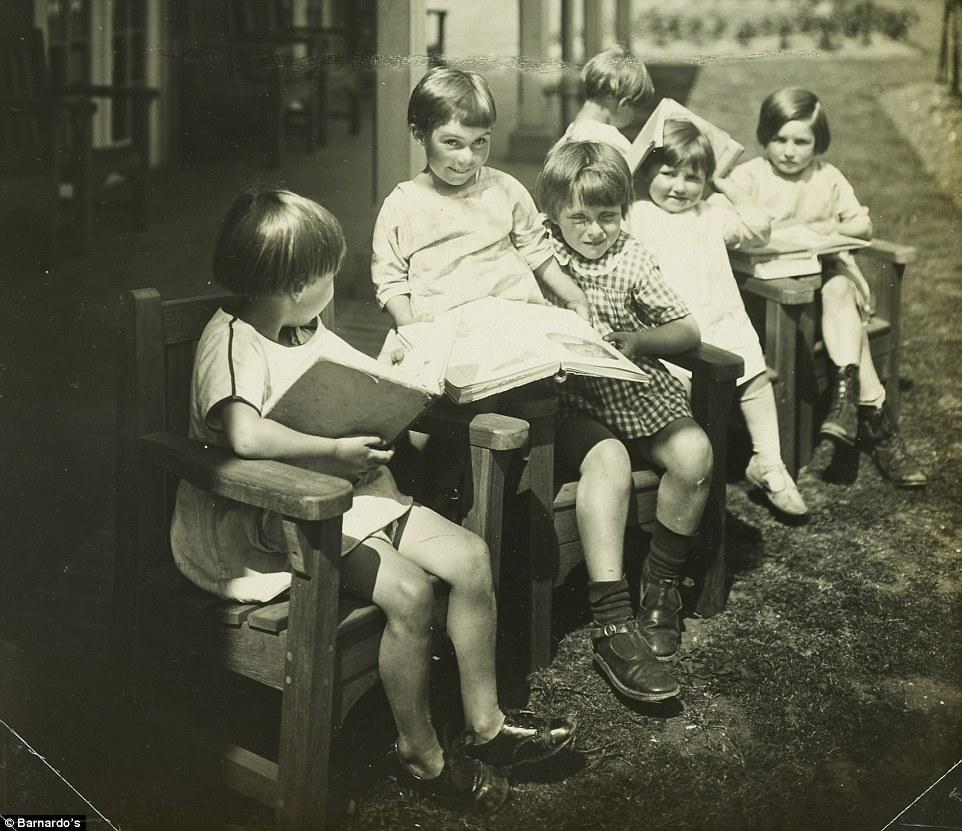 Girls outside with books