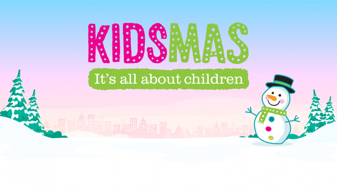Cartoon kidsmas snowman, on a snowy background with the kidsmas logo