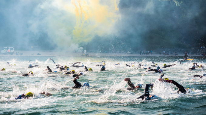 A group of swimmers out in open water