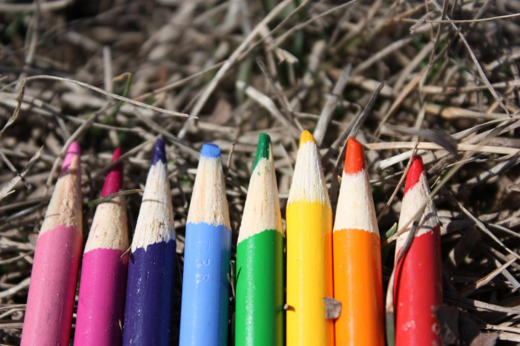 Pencils in rainbow flag colours on dried grass