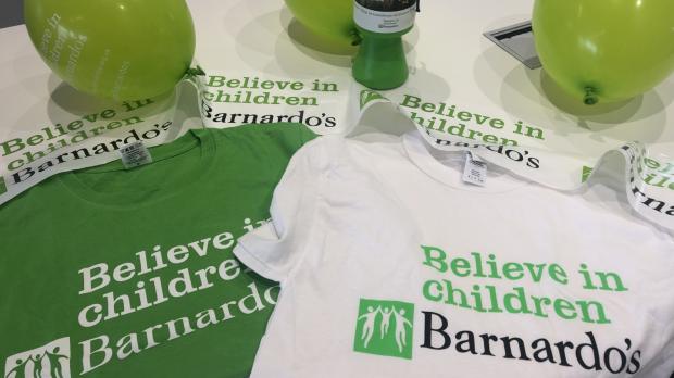 Barnardo's fundraising t-shirts and balloons