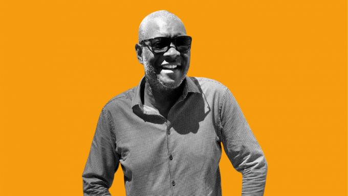 Black and white image of Tony Simpson